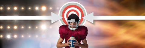 American football player with stadium transition and arrows pointing to target. Digital composite of American football player with stadium transition and arrows Royalty Free Stock Photo