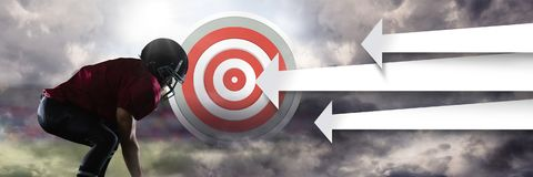 American football player with stadium transition and arrows pointing to target Stock Image