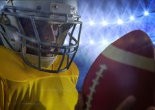 american football player standing in stadium close up royalty free stock image