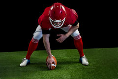American football player starting football game Stock Image