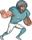 American Football Player Stiff Arm  Caricature Royalty Free Stock Photos