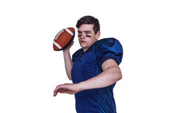 American football player throwing the ball Stock Photos