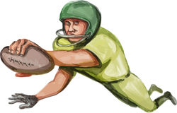 American Football Player Touchdown Caricature Stock Photography