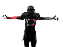 American football player touchdown celebration silhouette. One american football player touchdown celebration in silhouette shadow on white background Stock Photo