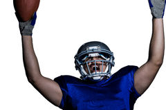 American football player in uniform cheering Stock Image