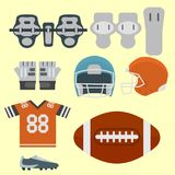 American football player uniform sport game icons vector cartoon style quarterback jumping success usa athlete Stock Images