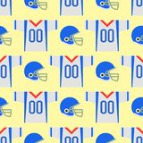 American football player uniform sport game seamless pattern vector cartoon style quarterback jumping success usa. Athlete. Professional competition floodlit Royalty Free Stock Photography
