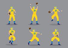 American Football Player Vector Cartoon Character Set Royalty Free Stock Photography