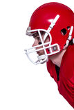 American football player wearing a helmet Royalty Free Stock Images