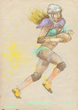 American football player, woman 1. American football player, running woman. Full-sized (original) hand drawing (useful for live trace converting for the  image Royalty Free Stock Image