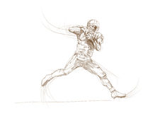 American football players. Hand drawing picture - american football players Stock Photo
