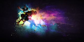 American football players in action. Mixed media royalty free stock photo