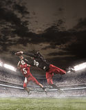 The american football players in action Stock Image
