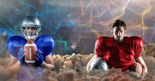 American football players blue and red Stock Images