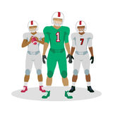 American Football Players in Equipment with Ball Stock Image