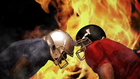 American football players. On flaming background stock video