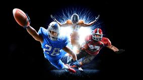 American football players men isolated on black royalty free stock photography