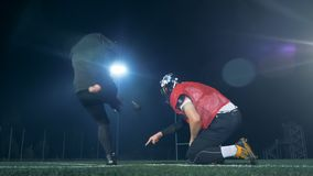American football players playing American football, close up. stock video