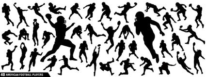 American Football Players Silhouettes stock illustration