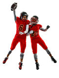 American football players teenager women  girl shadows isolated Royalty Free Stock Photos
