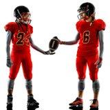 American football players teenager women  girl shadows isolated Stock Photos