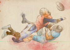 American football players, two guys 1. American football players, two guys in mutual scuffle. Full-sized (original) hand drawing (useful for live trace Stock Image
