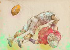 American football players, two guys 2. American football players, two guys in mutual scuffle. Full-sized (original) hand drawing (useful for live trace Stock Photo