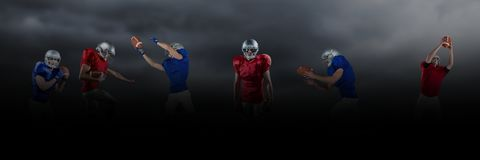 American football players wide black. Digital composite of american football players wide black stock illustration