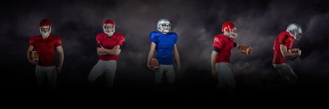 American football players wide black. Digital composite of american football players wide black Stock Photos