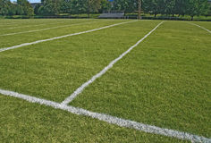 American football playing field in summer Stock Image