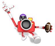 American football playing red camera Character Royalty Free Stock Photography