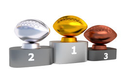 American Football Podium with Gold Silver and Bronze Trophy Stock Photos