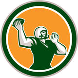 American Football QB Throwing Circle Retro Stock Photo