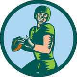 American Football QB Throwing Circle Woodcut Royalty Free Stock Images