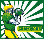 American football quarterback. Illustration of an American football player quarterback about to throw winning pass with words champions Stock Images