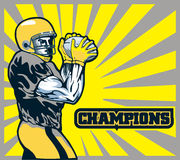 American football quarterback. Illustration of an American football player quarterback about to throw winning pass with words champions Royalty Free Stock Photo