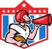 American Football Quarterback Bullhorn Cartoon. Illustration of an american football gridiron quarterback player holding bullhorn blowhorn shouting facing side Stock Photography