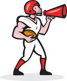 American Football Quarterback Bullhorn Isolated Cartoon. Illustration of an american football gridiron quarterback player holding bullhorn blowhorn shouting Stock Photo