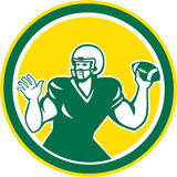 American Football Quarterback QB Circle Retro Royalty Free Stock Image