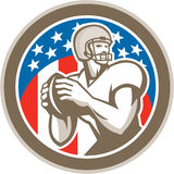 American Football Quarterback QB Circle Retro Stock Images