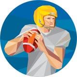 American Football Quarterback QB Low Polygon. Low polygon style illustration of an american football gridiron quarterback player holding ball facing side set Royalty Free Stock Photo