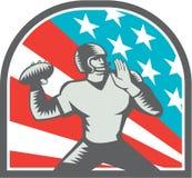 American Football Quarterback QB USA Flag Woodcut Stock Photos