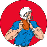 American Football Quarterback Ready Throw Ball Circle Drawing Stock Photo