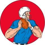 American Football Quarterback Ready Throw Ball Circle Drawing. Drawing sketch style illustration of an american football gridiron quarterback player holding ball Stock Photo