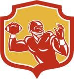 American Football Quarterback Shield Retro Royalty Free Stock Photography