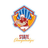 American Football Quarterback State Championships. Illustration of an american football gridiron quarterback player throwing ball facing front set inside crest Stock Photos
