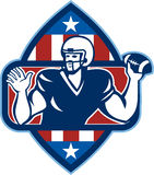 American Football Quarterback Throw Ball. Illustration of an american football gridiron quarterback player throwing ball facing side set inside crest shield with Stock Photos
