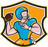 American Football Quarterback Throw Shield Cartoon Stock Image