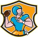 American Football Quarterback Throw Shield Cartoon. Illustration of an american football gridiron quarterback player throwing ball facing side set inside crest Stock Image