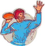 American Football Quarterback Throwing Ball Drawing Stock Photography